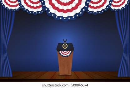 USA President podium on stage with semi-circle decorative flag on top. Open curtain stage with blue background scene. Vector illustration