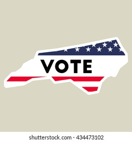 USA presidential election 2016 vote sticker. North Carolina state map outline with US flag. Vote sticker vector illustration.