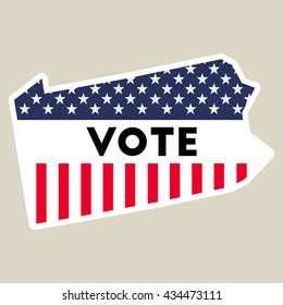 USA presidential election 2016 vote sticker. Pennsylvania state map outline with US flag. Vote sticker vector illustration.