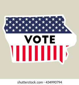 USA presidential election 2016 vote sticker. Iowa state map outline with US flag. Vote sticker vector illustration.