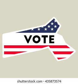 USA presidential election 2016 vote sticker. Massachusetts state map outline with US flag. Vote sticker vector illustration.