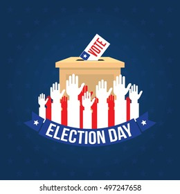 USA presidential election day concept vector. Voting concept in flat style. Vector Illustration