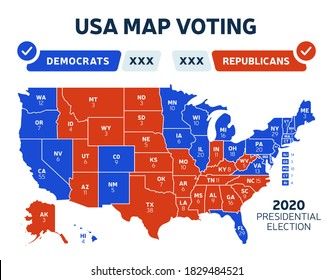 USA Presidential election results map. Usa map voting. Presidential election each state american electoral votes showing republicans or democrats political vector infographic