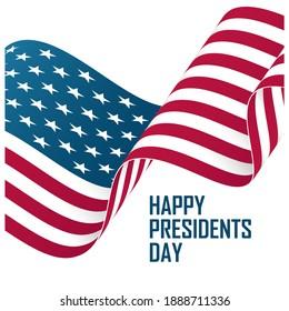 USA Presidents Day celebrate card with United States waving national flag. Washington's birthday. United States national holiday vector illustration.