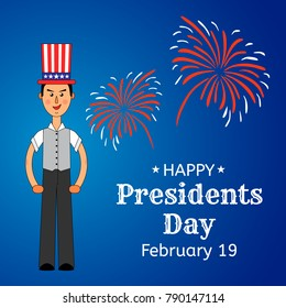 USA Presidents Day greeting card or banner. Elegant man in the US flag hat is put on his head. Festive firework in the background. Flat style design. Vector illustration.