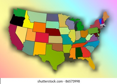 USA Rainbow Map ( EPS10 Vector)