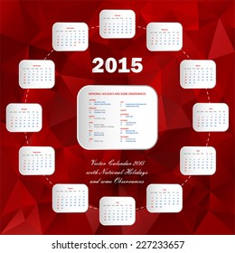 usa red circle calendar 2015 with national holidays and some observances in triangular design - web template