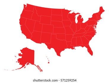 usa red map