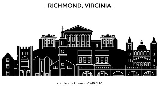 Usa, Richmond, Virginia architecture vector city skyline, travel cityscape with landmarks, buildings, isolated sights on background