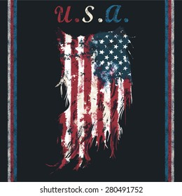 u.s.a ripped flag fashion tee shirt graphic design