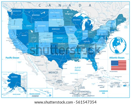 USA Road Map Colors Blue Roads Stock Vector (Royalty Free) 561547354 ...