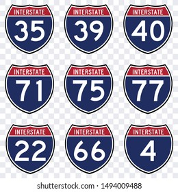USA road traffic transportation sign, interstate american  highway route symbol vector isolated
