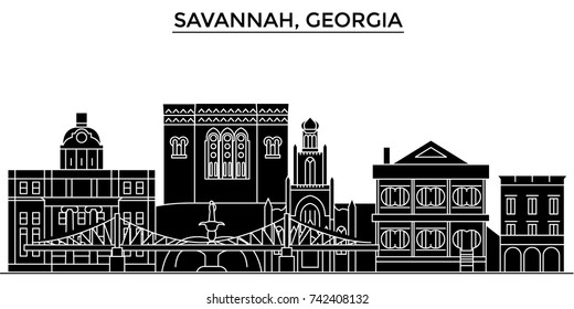 Usa, Savannah, Georgia architecture vector city skyline, travel cityscape with landmarks, buildings, isolated sights on background