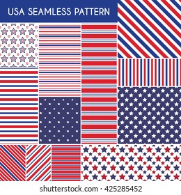 USA seamless patterns. Vector illustration for america design. 4th of July United Stated independence day. Fourth of July greeting card, banner, background. Navy, red. Patriotic stripe star set