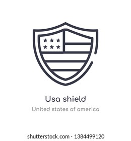 usa shield outline icon. isolated line vector illustration from united states of america collection. editable thin stroke usa shield icon on white background