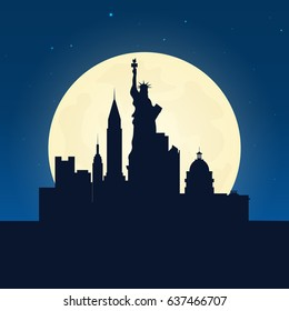 Usa silhouette of attraction. Travel banner with moon on the night background. Trip to country. Travelling illustration