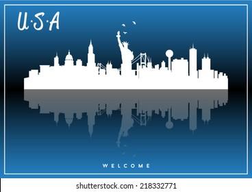 USA skyline silhouette vector design on parliament blue background.
