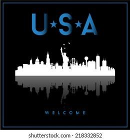 USA skyline silhouette vector design on black background.