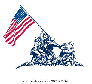 USA Soldiers Flag raising victory scene World War symbolic of heroism by soldiers in conflicts.