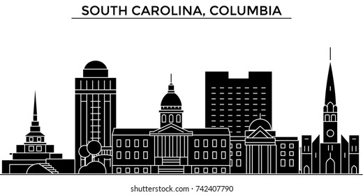 Usa, South California, Columbia architecture vector city skyline, travel cityscape with landmarks, buildings, isolated sights on background