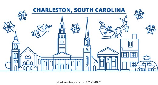 USA, South Carolina, Charleston winter city skyline. Merry Christmas and Happy New Year decorated banner.Winter greeting card with snow and Santa Claus.Flat, line vector. Linear christmas illustration