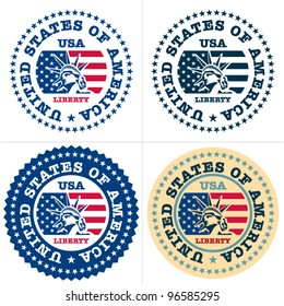 USA Stamp. Statue of liberty stamp, sign. Vector isolated.