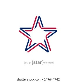 The USA star from ribbon vector illustration