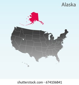 USA state Of Alaska map