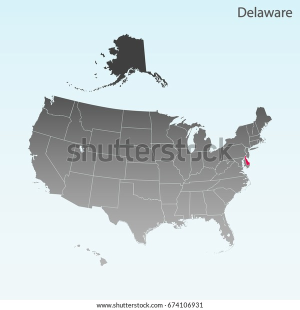 Usa State Delaware Map Stock Vector (Royalty Free) 674106931