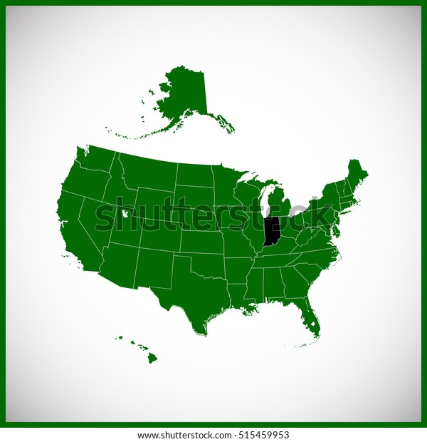 Usa State Indiana Map Stock Vector (Royalty Free) 515459953