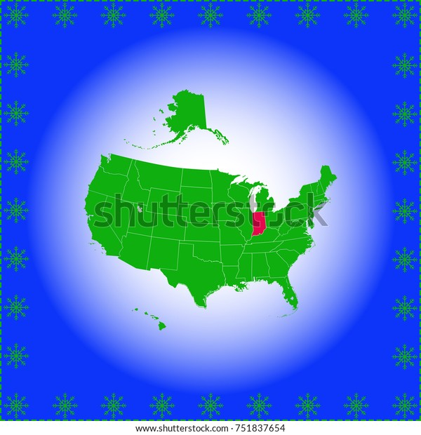 Usa State Indiana Map Stock Vector (Royalty Free) 751837654