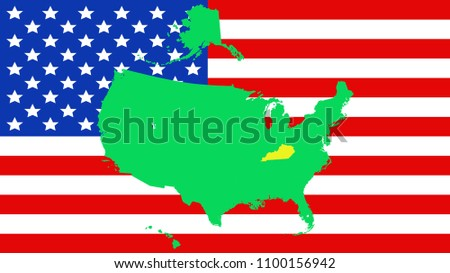 USA State Kentucky Map On Flag Stock Vector (Royalty Free ...