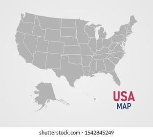 USA state map isolated on white background. Vector illustration.