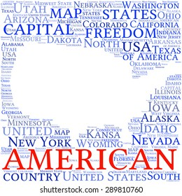USA state map tag cloud vector illustration
