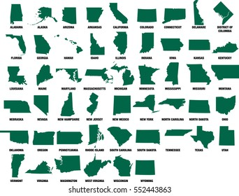 USA State Maps Vector Silhouettes Isolated on White set of 50 states and DC