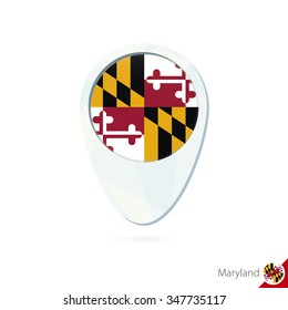 USA State Maryland flag location map pin icon on white background. Vector Illustration.