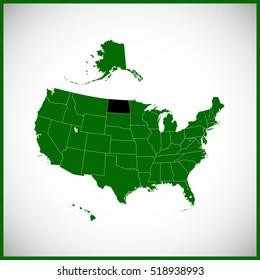 USA state Of North Dakota map