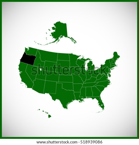 USA State Oregon Map Stock Vector (Royalty Free) 518939086 ...