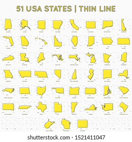 USA states map set Memphis style thin line with small geometric figures. United States of America maps modern concept. Texas, California, New York, Pennsylvania. USA linear maps. Vector illustration