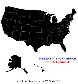 USA States Map Vector Image - all states on separate layers and named accordingly