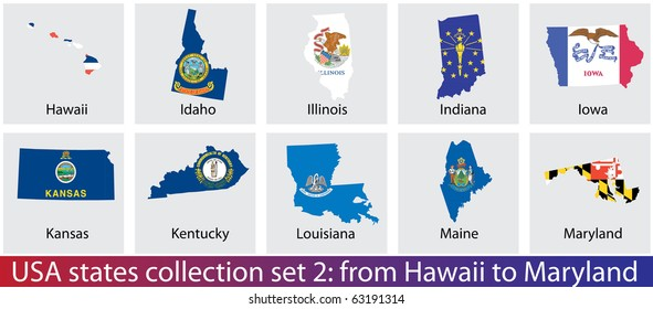 USA states shaped flags collection. Set 2 of 5.