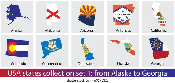 USA states shaped flags collection. Set 1 of 5.