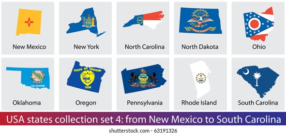 USA states shaped flags collection. Set 4 of 5.