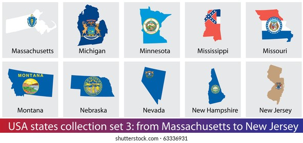 USA states shaped flags collection. Set 3 of 5.