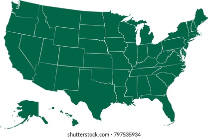 USA States Vector Map Isolated on White