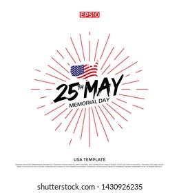 USA sunburst greeting card design template.
