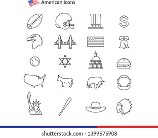 USA Symbols - many vector flat icons - Vector