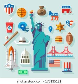USA  Symbols -  many vector flat icons
