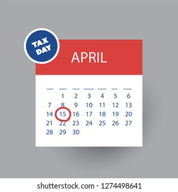 USA Tax Day Icon - Calendar Design, Web Template - Tax Deadline, Due Date for Federal Income Tax Returns: 15th April 2019