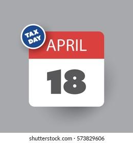 USA Tax Day Icon - Calendar Design Template 2017